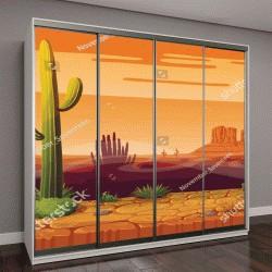 """Шкаф купе с фотопечатью """"пейзаж с пустыней и кактусами"""""""