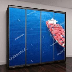 """Шкаф купе с фотопечатью """"Большой контейнер корабль в море - воздушный образ"""""""
