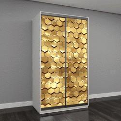 """Шкаф купе с фотопечатью """"3D визуализация, золотая СОТа стена текстура, золото шестигранник кластеров, абстрактных геометрических фон"""""""
