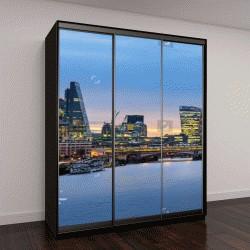 """Шкаф купе с фотопечатью """"Панорамный вид на городской пейзаж Лондона над рекой Темзой"""""""