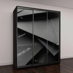 """Шкаф купе с фотопечатью """"3д бумага черного цвета"""""""