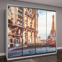 """Шкаф купе с фотопечатью """"маленькая Парижская улочка с видом на  Эйфель в пасмурный дождливый день"""""""