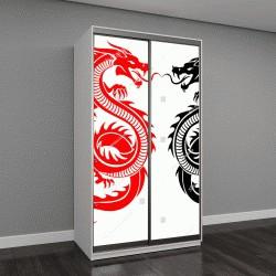 """Шкаф купе с фотопечатью """"Черный и красный племенной дракон татуировки векторные иллюстрации"""""""