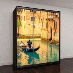 """Шкаф купе с фотопечатью """"Гондолы на канале в Венеции, Италия"""""""