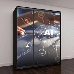 """Шкаф купе с фотопечатью """"искусственный интеллект, машинное обучение, нейронные сети и современные технологии"""""""
