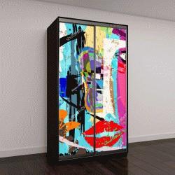 """Шкаф купе с фотопечатью """"абстрактный фон композиции, с штрихами и брызг, лицо/маска"""""""