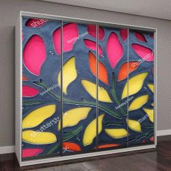 """Шкаф купе с фотопечатью """"Раздел декоративные стеновые панели, розовые, оранжевые и желтые"""""""