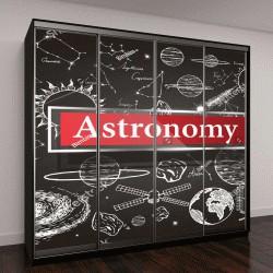 """Шкаф купе с фотопечатью """"планеты в графике и рамка с надписью Астрономия"""""""