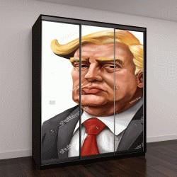 """Шкаф купе с фотопечатью """"шарж Дональд Трамп """""""