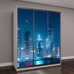 """Шкаф купе с фотопечатью """"Современные здания в Дубай, залив с огнями в ночное время """""""