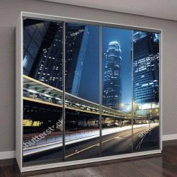 """Шкаф купе с фотопечатьюНочной трафик в Гонконге,Китай"""""""