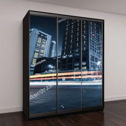 """Шкаф купе с фотопечатью """"подсветка дорог на фоне современного здания """""""