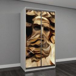 """Шкаф купе с фотопечатью """"Античные скульптуры в современном стиле, картина маслом на холсте"""""""
