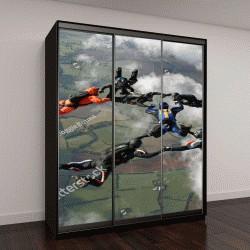 """Шкаф купе с фотопечатью """"Девять парашютистов в свободном падении"""""""
