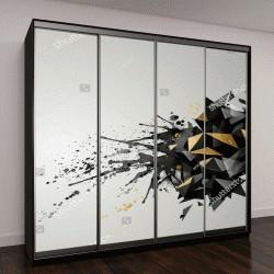 """Шкаф купе с фотопечатью """"Абстрактный геометрический баннер с черным цветом и золотой текстурой"""""""