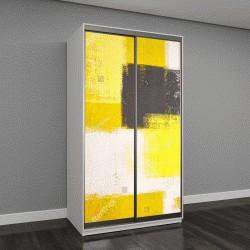 """Шкаф купе с фотопечатью """"Желтый и серый абстрактная художественная роспись"""""""