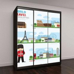 """Шкаф купе с фотопечатью """"Путешествий и открытый в Европе принципиально новый дизайн инфографики"""""""
