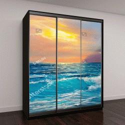 """Шкаф купе с фотопечатью """"Утро на море, волна, иллюстрация, живопись акриловыми красками на холсте"""""""