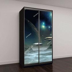 """Шкаф купе с фотопечатью """"Чужая планета и космические корабли"""""""