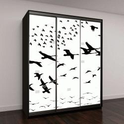 """Шкаф купе с фотопечатью """"Векторные силуэты: стая птиц, ворон, лебеди, гуси"""""""