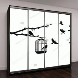 """Шкаф купе с фотопечатью """"клетки для птиц """""""
