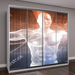 """Шкаф купе с фотопечатью """"Биотехнологии, 3D визуализация"""""""