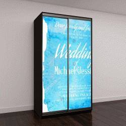 """Шкаф купе с фотопечатью """"Свадебный пригласительный билет с голубой абстрактный пятном на фоне"""""""