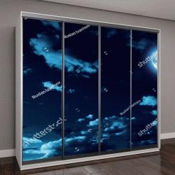 """Шкаф купе с фотопечатью """"Ночное небо со звездами и Луной"""""""