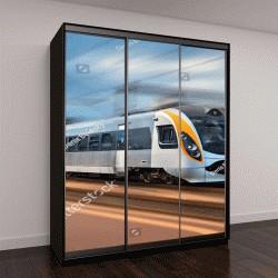 """Шкаф купе с фотопечатью """"высокоскоростной поезд в движении на железнодорожной станции в Европе"""""""
