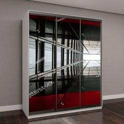 """Шкаф купе с фотопечатью """"Абстрактное изображение из стекла и черной стали"""""""