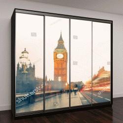 """Шкаф купе с фотопечатью """"вид на Вестминстерский мост с Биг Бена на закате, Лондон, Англия"""""""