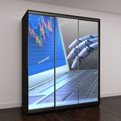 """Шкаф купе с фотопечатью """"Роботизированная рука и биржевая торговля"""""""