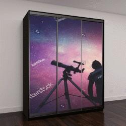 """Шкаф купе с фотопечатью """"Человек смотрит на звезды через телескоп"""""""