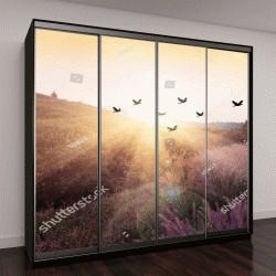 """Шкаф купе с фотопечатью """" Силуэт птиц, летящих над долиной на закате"""""""