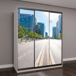 """Шкаф купе с фотопечатью """"дороги города и современные здания в Пекине"""""""