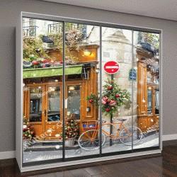 """Шкаф купе с фотопечатью """"Велосипед в типичном парижском кафе"""""""