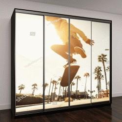 """Шкаф купе с фотопечатью """"Скейтер на улице в Лос-Анджелесе"""""""