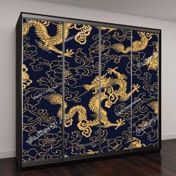 """Шкаф купе с фотопечатью """"Китайский золотой дракон и пион"""""""