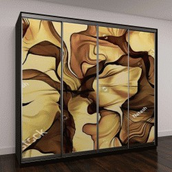 """Шкаф купе с фотопечатью """"абстрактные иллюстрации Искусство цвета психоделический фрактал спираль волнистые линии на коричневом фоне органических форм, на тему абстракции, фантазии и творчества"""""""