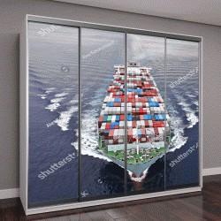 """Шкаф купе с фотопечатью """"Вид с воздуха на грузовое судно"""""""