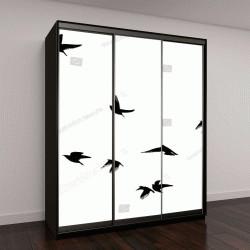 """Шкаф купе с фотопечатью """"Летающих птиц в небе"""""""