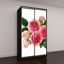 """Шкаф купе с фотопечатью """"Розовые розы на белом"""""""