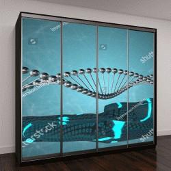 """Шкаф купе с фотопечатью """"биотехнологии генетической спирали ДНК 3D иллюстрация"""""""