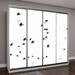 """Шкаф купе с фотопечатью """"стая летящих птиц"""""""