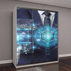 """Шкаф купе с фотопечатью """"Бизнесмен на размытом фоне, цифровой экран, 3D визуализация"""""""