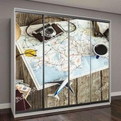 """Шкаф купе с фотопечатью """"карта путешествий на деревянном столе"""""""