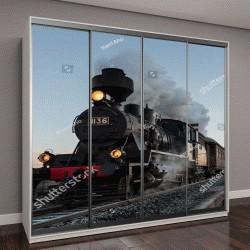 """Шкаф купе с фотопечатью """"утренний поезд"""""""
