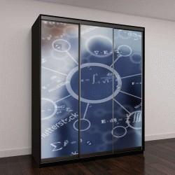 """Шкаф купе с фотопечатью """"модель молекулы на синем фоне"""""""