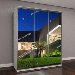 """Шкаф купе с фотопечатью """"современный дизайн, бетонный дом, ночная съемка"""""""