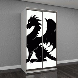 """Шкаф купе с фотопечатью """"Векторный рисунок черного дракона силуэт, который сидит"""""""